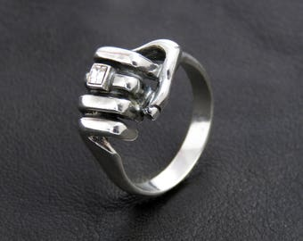 Men's silver ring with cubic zirconium, men's ring, men's jewelry, sterling ring for men, unique gift for men, silver jewelry