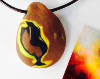 FIRE 24 Nature Elements Necklace Unique Handmade Artistic Pendant Stone Adjustable Leather Cord Perfect Gift for Her