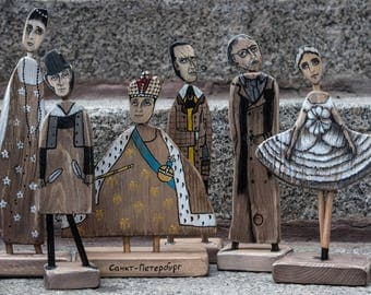 Wooden figurines of the famous people (The price is for 1 figurines)