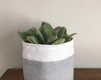 Linen fabric plant holder