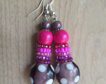 Handmade earrings, glass beads, pink, violet beads, romantic, poetic, ethnic jewelry,