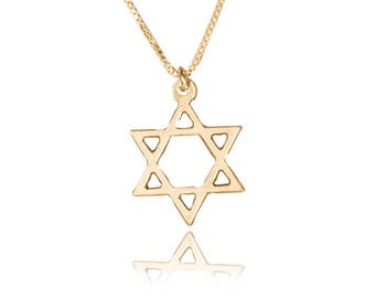 14k gold star of david necklace jewish star necklace davids star necklace gold plated 14k gold magen david necklace