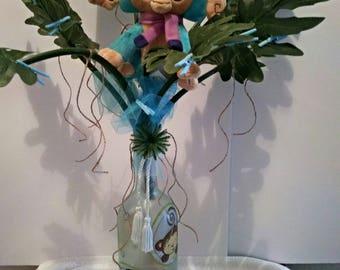 Baby Shower Money Tree LED Bottle Light with Baby Monkeys