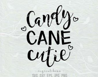 Candy Cane Cutie SVG File Silhouette Cutting File Cricut Download Print Vinyl sticker T Shirt Design DXF Winter Merry Christmas Heart
