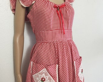 Vintage 1970's red fit and flare pin up gingham dress