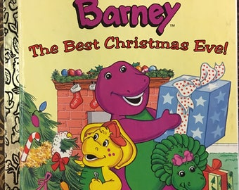 Barney The Best Christmas Ever! Little Golden Book by Stephen White Copyright 1997 First Edition  #98815 - Golden Book Luv