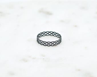 Modern Oxidized Sterling Silver Ring with Rope Pattern-oxidized silver ring-thumb ring-midi ring