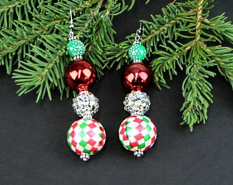 Ugly Christmas Earrings Totally Tacky and Ugly Christmas Jewelry Holiday Tones of Red and Green