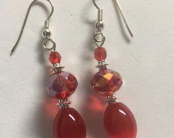 Red Crystal Earrings / Red Crystal Drop Earrings / Red Cat's Eye Drop Earrings