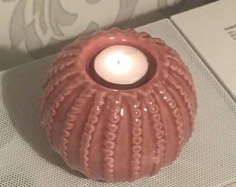 Ridged Pattern Ceramic Tealight Candle Holder, Table Tea Candle Ceramic Holder