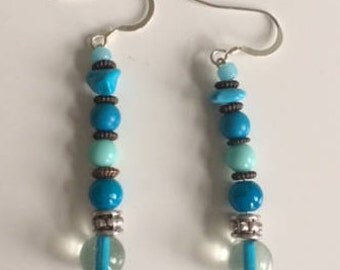 Turquoise dangle drop bead earrings jewellery