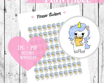 Printable Planner Stickers, Unicorn stickers, Shopping stickers, Digital stickers, Instant Download