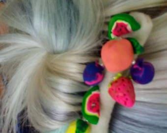 Fruit Salad Hair Comb Polymer Clay and Felt