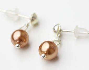 Earrings brown pearls silvery studs