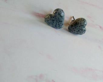 Granite Heart Stud Earrings - Polymer Clay
