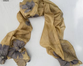 Gold floral-print silk-wool scarf