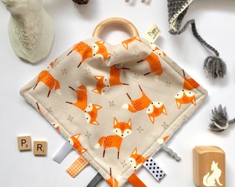 Timberland Foxes // Snuggle Teether // Teething Blanket // Teething Cloth // Teether // Lovey // Taggie // Taggie Blanket // Sensory Toy