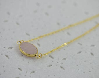 Pale Pink Necklace Pink Jade Necklace Pink Gemstone Jewelry Gemstone Jewellery Gemstone Necklace Pink Oval Pendant Pink Jade Faceted Stone