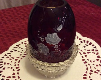 Fenton fairy lamp / Candle holder / handpainted / Signed / FREE SHIPPING