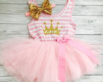 First Birthday Outfit Girl, First Birthday Dress, 1st Birthday Girl Outfit, 1st Birthday Dress, One Year Old Birthday Outfit, Pink and Gold