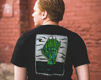 Swamp Hand screen printed black pocket tee
