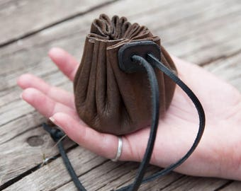 Drawstring Leather Pouch, Small