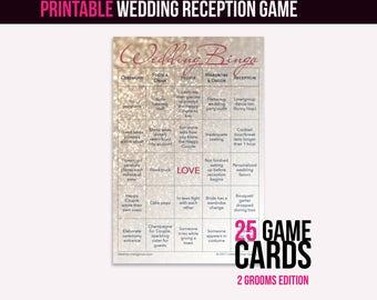 Wedding Bingo Instant Download (2 Grooms): The Wedding Reception Game (25 cards)