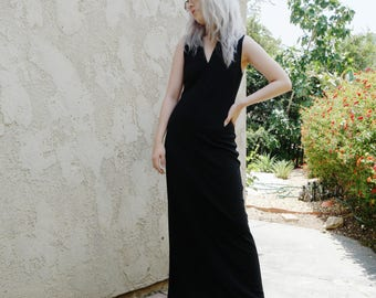 Vintage 90's Banana Republic Black Minimalist Dress / Women Sleeveless V-Neck Dress / Form Fitting Maxi Dress / Sophisticated Black Dress