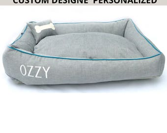 Personalized Custom Dog Bed and cat bed/large dog bed/durable canvas bed/choose your colors,Free Name embroidery