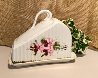 Vintage German Porcelain Cheese Keeper with Floral Hand Painting