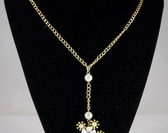 Vintage Flower Pendant w/ Faux Pearls & Vintage Clasp