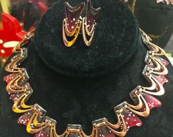 Vintage Copper Enamel Necklace, Renoir, Vintage Jewelry,