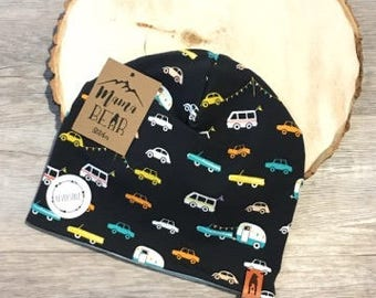 Reversible Kids Slouchy Beanie-Cars & Mint-Newborn Beanie-Baby Beanie-Kid Beanie-Adult Beanie-Stretchy Hat-Baby Shower Gift