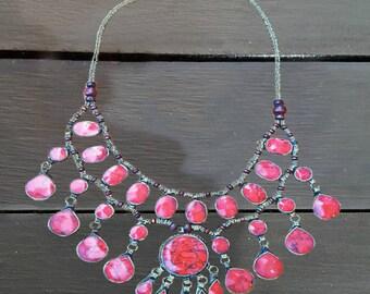 Afghan bib necklace/statement necklace/Tribal necklace/ bohemian necklace/coral necklace