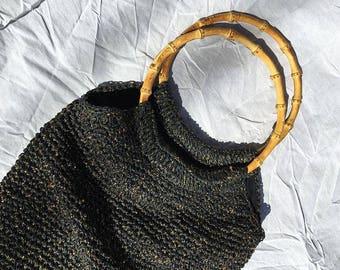 Gold & Black Raffia Handbag