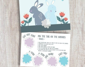 Easter Print Game Easter Gift Pin the Tail on the Bunnies A3 or A4 Print Kids Easter Gift Kids Easter Toy Game Rabbit Print Kids Fun Game