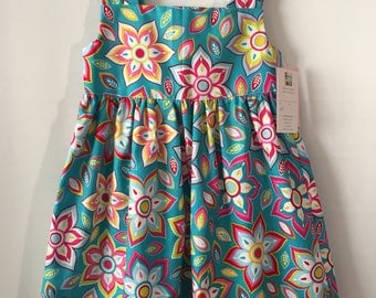 4T Dress in Teal with Large Flowers