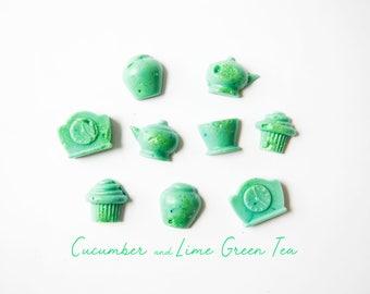 Cucumber & Lime Green Tea Wax Melts (1.6 Oz) - Fresh Wax Melts - Green Tea - Cucumber - Lime - Wax Melts - Tea Time - Hand Poured Wax Melts