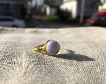 Wire Wrapped Ring-Gold Wire-Purple Marble Bead