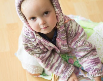 Baby Sweater Size 2-3 Years, Knitting, Handmade, Baby Gift, Colourful, Purple, Violet, Hooded Sweater, Buttoned Sweater, For Baby