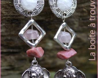 "Earrings ""Ganesha"" and three stones"