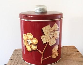 Vintage Krispy Kan Cracker tin - blue magic - kitchenalia retro kitchen - 1950s savoy biscuits - maroon - biscuits canister #0523