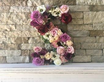 Flower Letter; Floral Letter; Nursery Decor; Floral Monogram; Wedding Decor; Flower Letters; Baby Girl Nursery; Nursery Letter; Initial