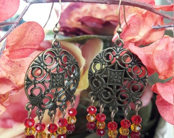 Sunset-Colored Antique Silver Chandelier Earrings