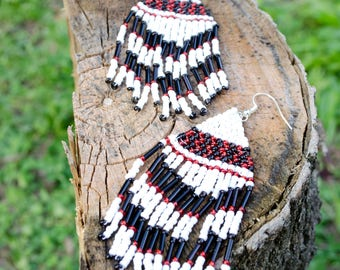 Red & White Checkered Native American Seed Bead Earrings
