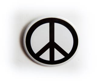 New Black on White 2 1/4 inch PEACE button / Pin