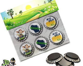 Wisconsin Magnets   Bottle Cap Magnets   Party Favors   Gift