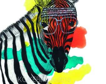 ZEBRA - whimsical animal art, nursery decor,