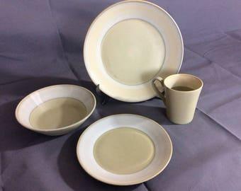 Vintage Dinner Wear Set Sango Impressions Sage #5121 Dinner Plate, Salad Plate, Mug and Bowl