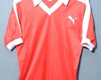 PUMA-Jersey T-shirt 80s wester Germany rare football TG 5 (E24)